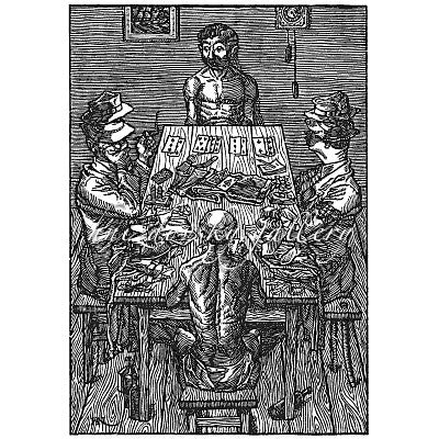 "Jacques Hnizdovsky, #023 Card Players, woodcut, 1953, 12.5"" x 8.625"" (image size)"
