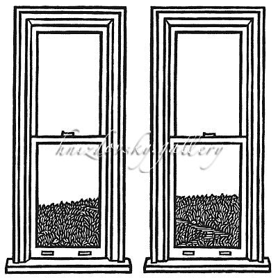 "Jacques Hnizdovsky, #046 Windows, woodcut, 1964, 5.75"" x 5.75"" (image size)"