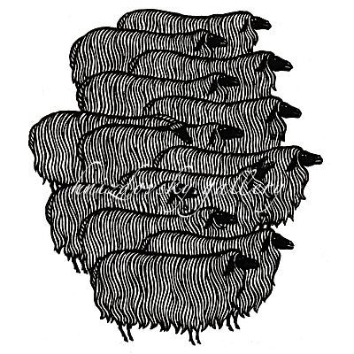 "Jacques Hnizdovsky, #050 Herd of Sheep, woodcut, 1964, 6.75"" x 6"" (image size)"