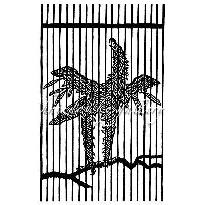 "#054 Caged Eagle, woodcut, 1964, 7.25"" x 4.5"" (image size)"
