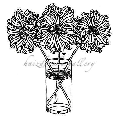 "Jacques Hnizdovsky, #100 Three Dahlias, woodcut, 1970, 8.5"" x 8"" (image size)"