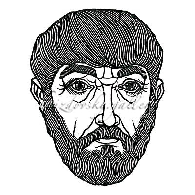 "#115 Self-Portrait, woodcut, 1971, 8.125"" x 6.25"" (image size)"