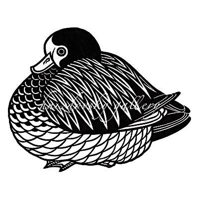 "#180 Wood Duck, woodcut, 1974, 5.5"" x 7.125"" (image size)"