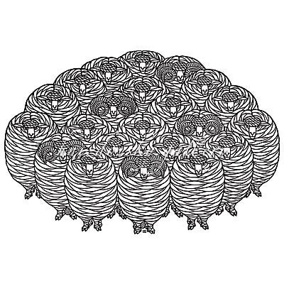 "Jacques Hnizdovsky, #218 Herd of Merino Sheep, woodcut, 1975, 16"" x 24"" (image size)"
