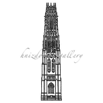"#236 Harkness Tower, Yale, 1977, 12.75"" x 2.75"" (image size)"