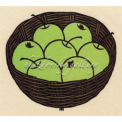 "Jacques Hnizdovsky, #256 Green Apples, woodcut, 1978, 7.125"" x 8"" (image size)"