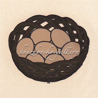 "Jacques Hnizdovsky, #257 Basket of Eggs, woodcut, 1978, 6.75"" x 8"" (image size)"