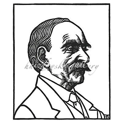 "Jacques Hnizdovsky, #260 Portrait of Thomas Hardy, woodcut, 1978, 5.375"" x 4.5"" (image size)"
