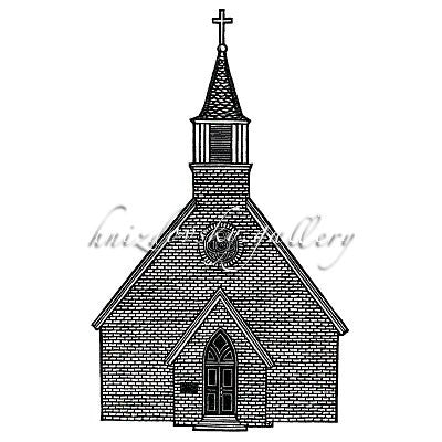 "Jacques Hnizdovsky, #337 Trinity Church, St. Mary's City, woodcut, 1984, 10"" x 7"" (image size)"