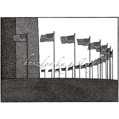 "Jacques Hnizdovsky, #352 Washington Monument, woodcut, 1985, 16"" x 22"" (image size)"