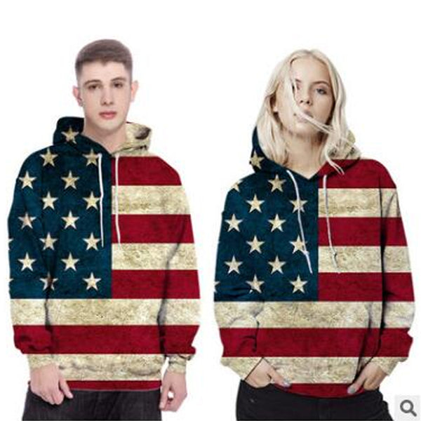 3d Print American flag man hoodies