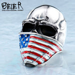 BEIER American Flag Stainless Steel Skull Ring for Man Personality Biker Jewelry