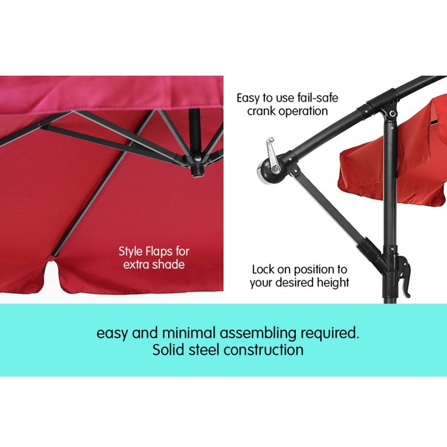 Red cantilever market umbrella 3.0m