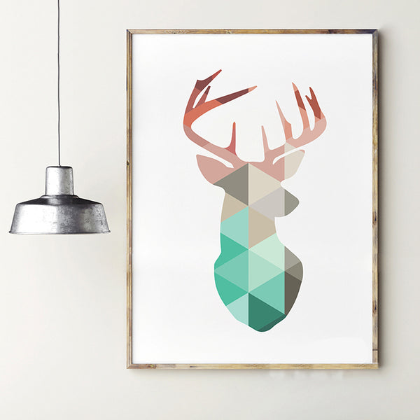 Geometric Coral Deer Head Canvas Art Print Poster
