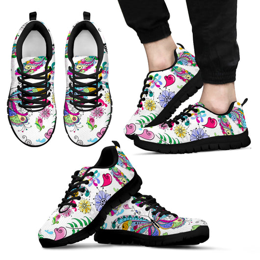 Floral Butterflies Sneakers For Men's And Women's