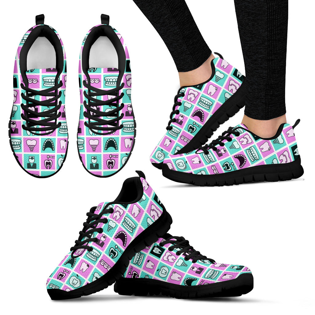 Dentist Pastel Checkerboard Sneakers for Men's And Women's