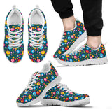 Flowers Sneakers Black &White For Men's,Womens & Kid's