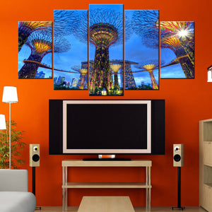 Singapore City Gardens by the Bay 5 Piece Canvas Wallart- HD Quality