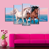 Beautiful Horses 5 Piece Canvas Wallart - HD Quality