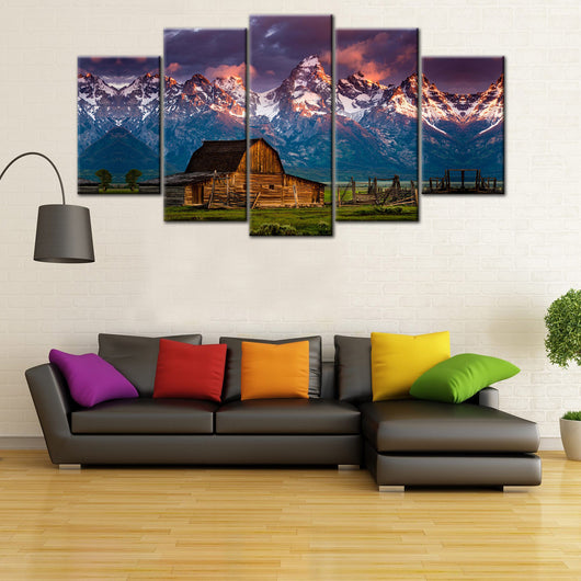 Beautiful Barn Rocky Mountain 5 Piece Canvas Wallart -HD Quality