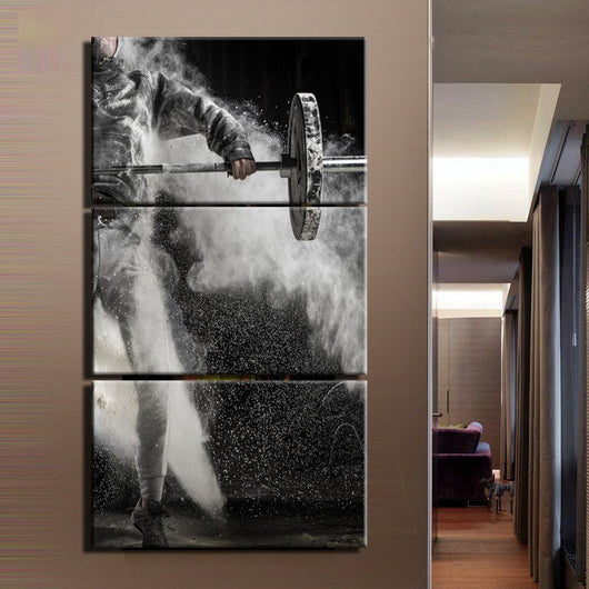 3 PIECES WEIGHT LIFT DOMINATION CANVAS WALL ART - HD QUALITY