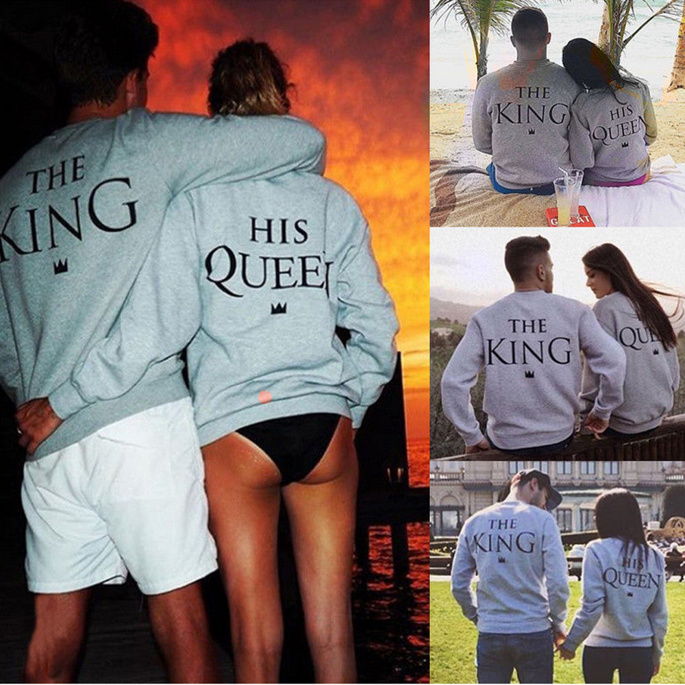 King Queen O Neck Sexy Vetement Femme  Couple T-Shirt