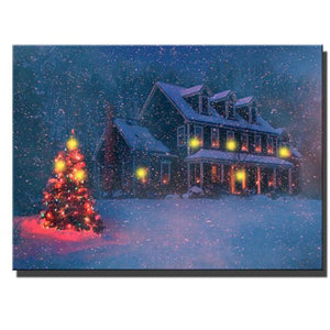 Christmas Tree With House At Snowy Winter Wall Decor LED - Perfect Christmas Gift