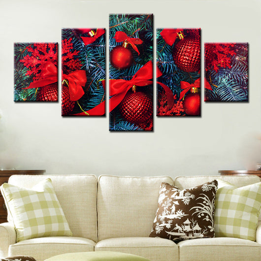 Christmas Day Color Balls 5 Piece Canvas Wallart - HD Quality