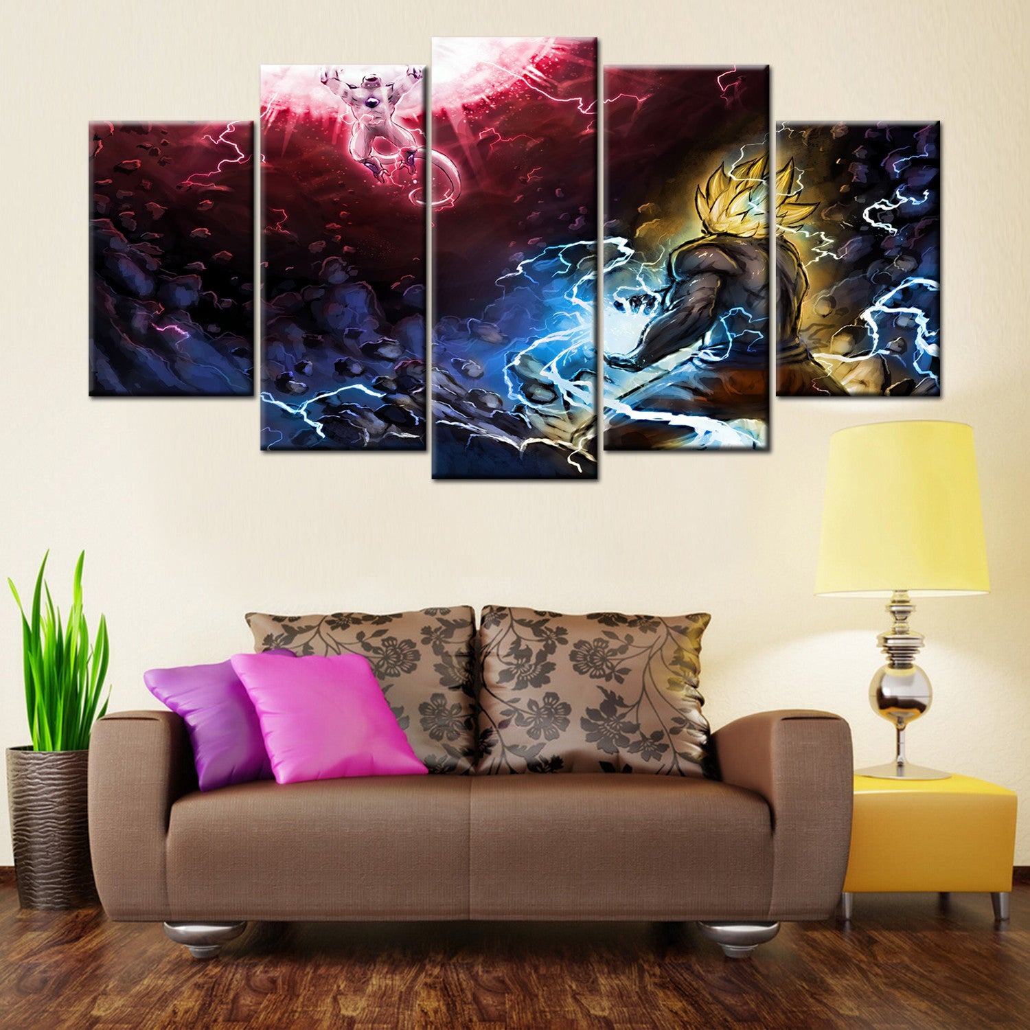 Dragon Ball Z Battle Freeza 5 Piece Canvas Wallart - HD Quality