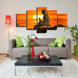 Buddhist Sunrise Statue 5 Piece Canvas Wallart - HD Quality