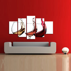 5 Pieces of Beautiful Wine Glasses Canvas Wall Art - HD Quality