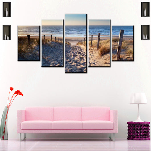 Beautiful Beach Way 5 Piece Canvas Wallart - HD Quality