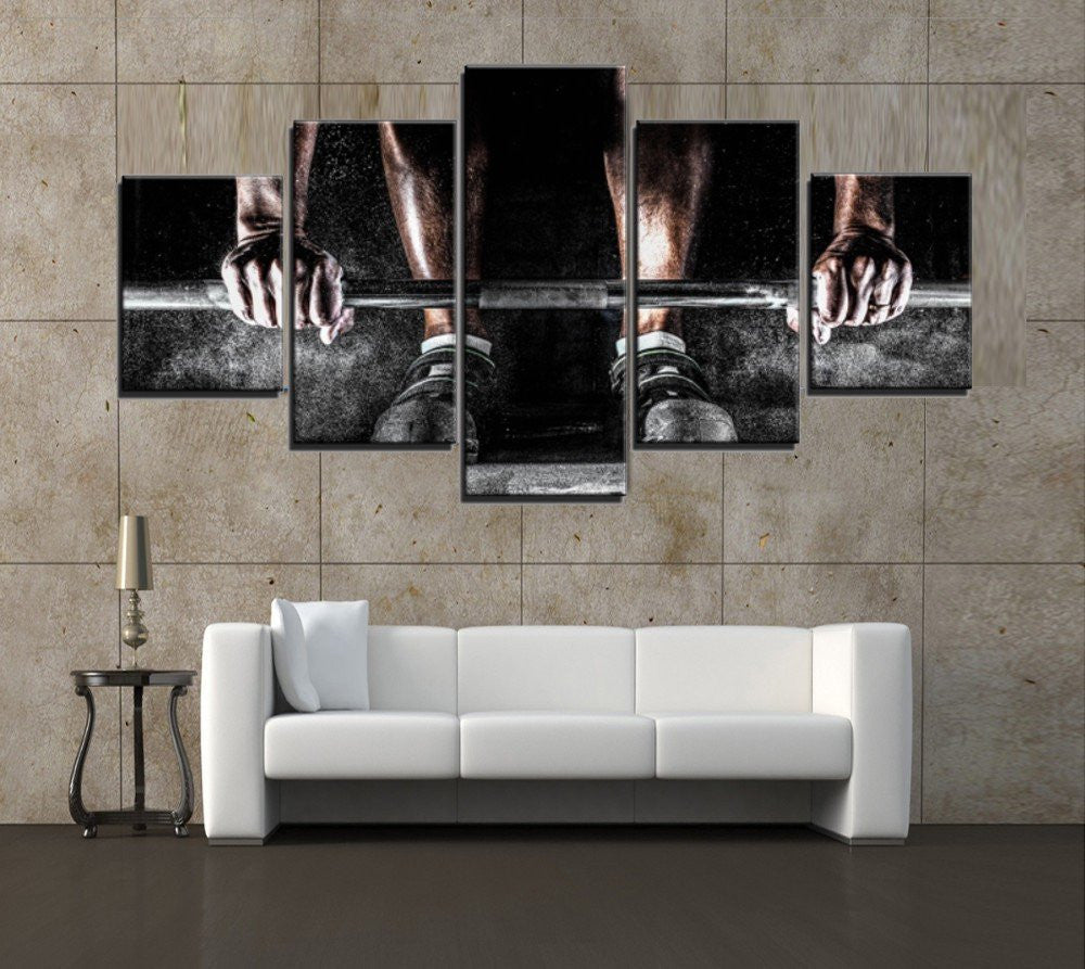 NEVER GIVE UP 5 PIECE CANVAS WALL ART - HD QUALITY
