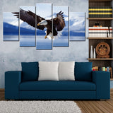 Cloud View Eagle 5 Piece Canvas Wallart - HD Quality