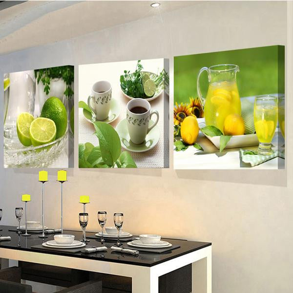 Modern Kitchen Paintings 3 panels modern wall pictures for the kitchen -canvas hd fruit