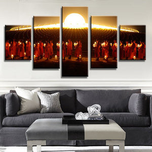 The March Of Monks 5 Piece Canvas Wallart - HD Quality