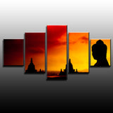 Buddha Statue Sunset 5 Piece Canvas Wallart - HD Quality