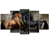 Buckskin With Stallion 5 PIECE CANVAS WALLART - HD QUALITY