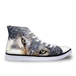 3D Animal White Wolf Printed High Top Canvas Shoes For Men's And Women's