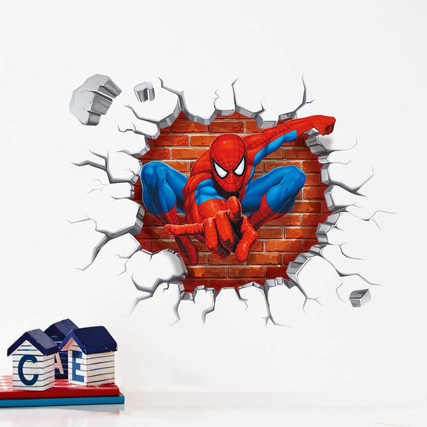 3D Cartoon Spiderman wall stickers for kids rooms - Best Gift For Kids