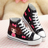 Cute Girls & Bowknot Red Heart Hand Painting Canvas Shoes