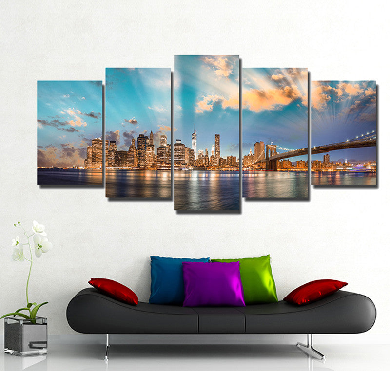 New York City Skyline 5 Piece Canvas Wallart - HD Quality
