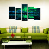 5 Piece Aurora Borealis Canvas Wallart - HD Quality
