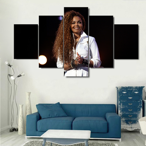 Janet Jackson 5 Piece Canvas Wallart - HD Quality