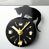 New Cat Clock Refrigerator Magnet Message Posted Watch Wall Clocks