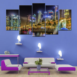 Singapore City Night Art 5 Piece Canvas Wallart - HD Quality