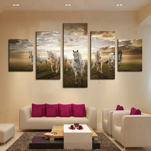 5 Pieces Of Running Horse Canvas Art For Living Room   HD Quality