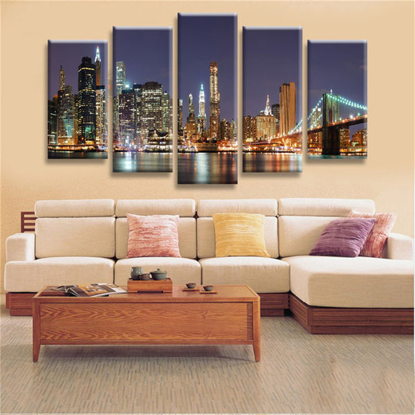 5 pieces Of New York Manhattan Brooklyn Bridge Wall Art - HD Quality