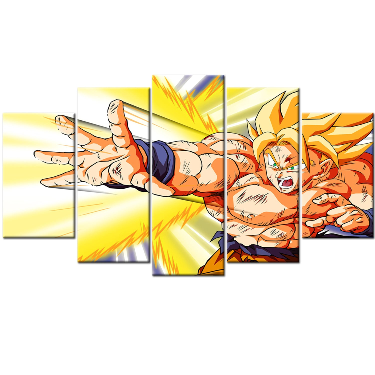 Dragon Ball Z Super Saiyan Goku 5 Piece Canvas Wallart - HD Quality