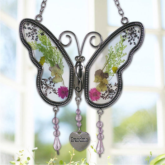 Grandma Butterfly Flower Wings Embedded in Glass with Metal Necklase
